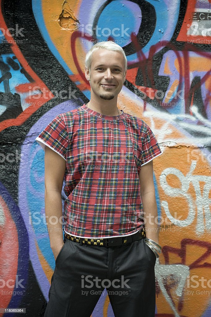 Portrait of young man in a tartan t shirt royalty-free stock photo