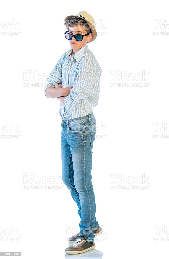 Portrait of young man in casual wear standing stock photo