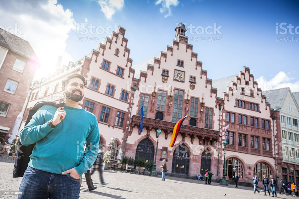 Portrait of young man in central Frankfurt stock photo