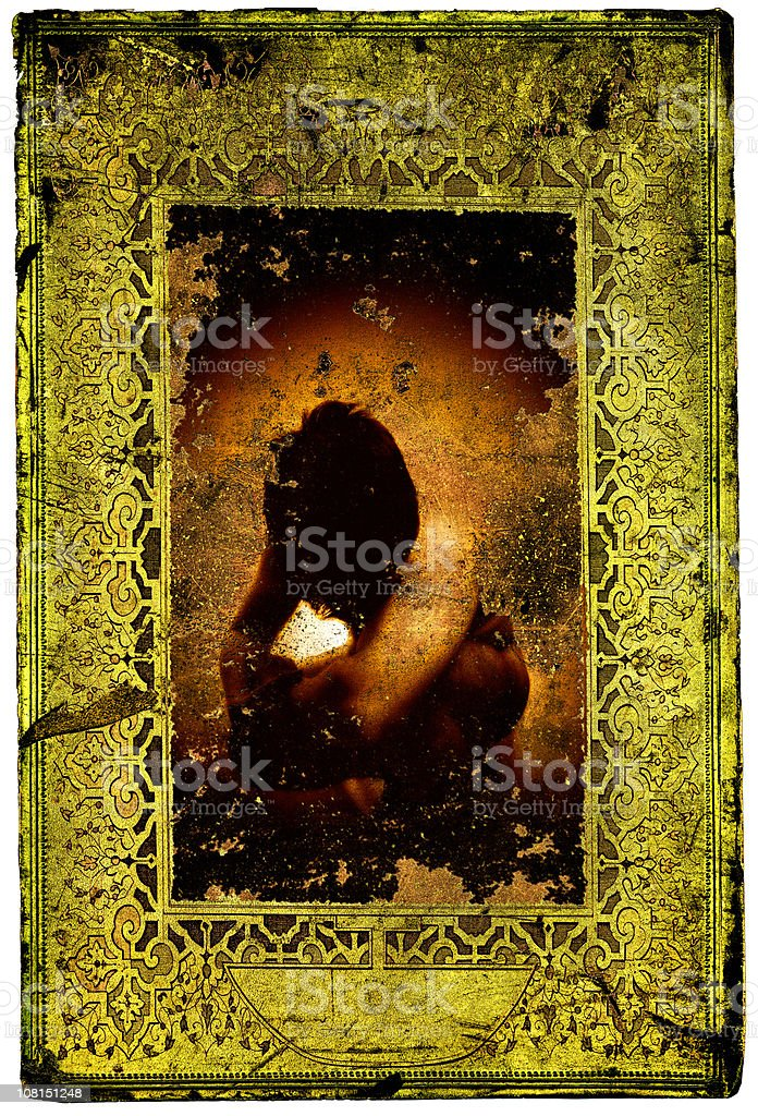Portrait of Young Man in Gold Framed Card royalty-free stock photo
