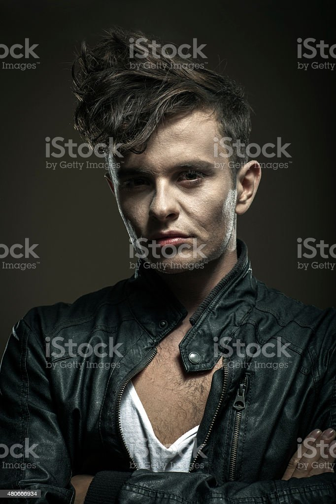 Portrait Of Young Man In Leather Jacket stock photo