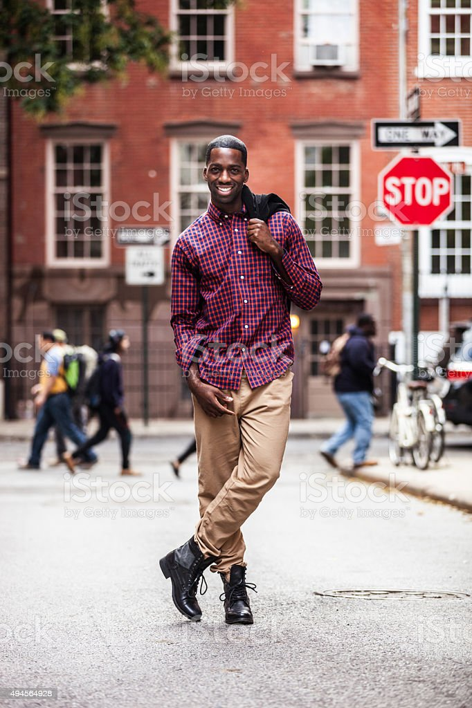 Portrait of young man in New York stock photo