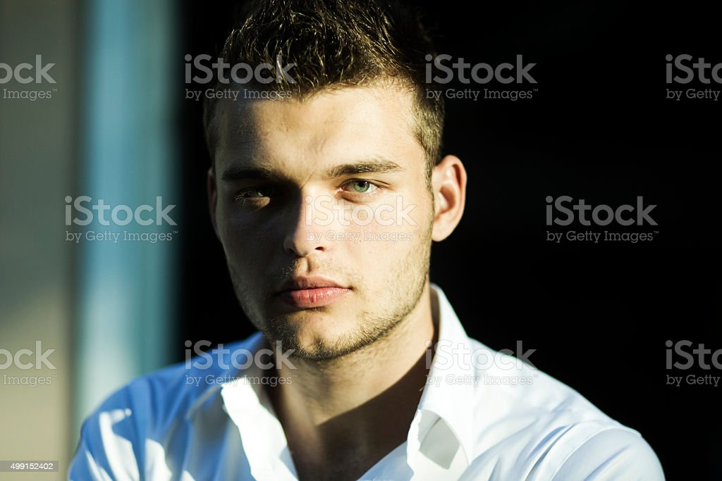 Portrait of young man outdoor stock photo