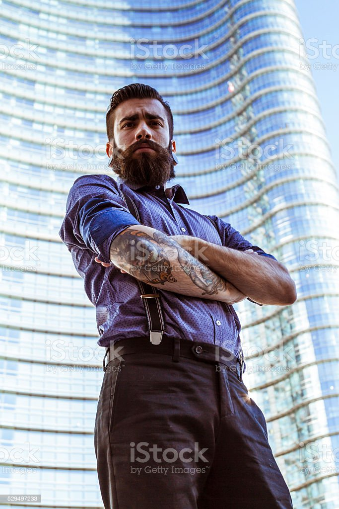 Portrait of Young man (Hipster style) stock photo