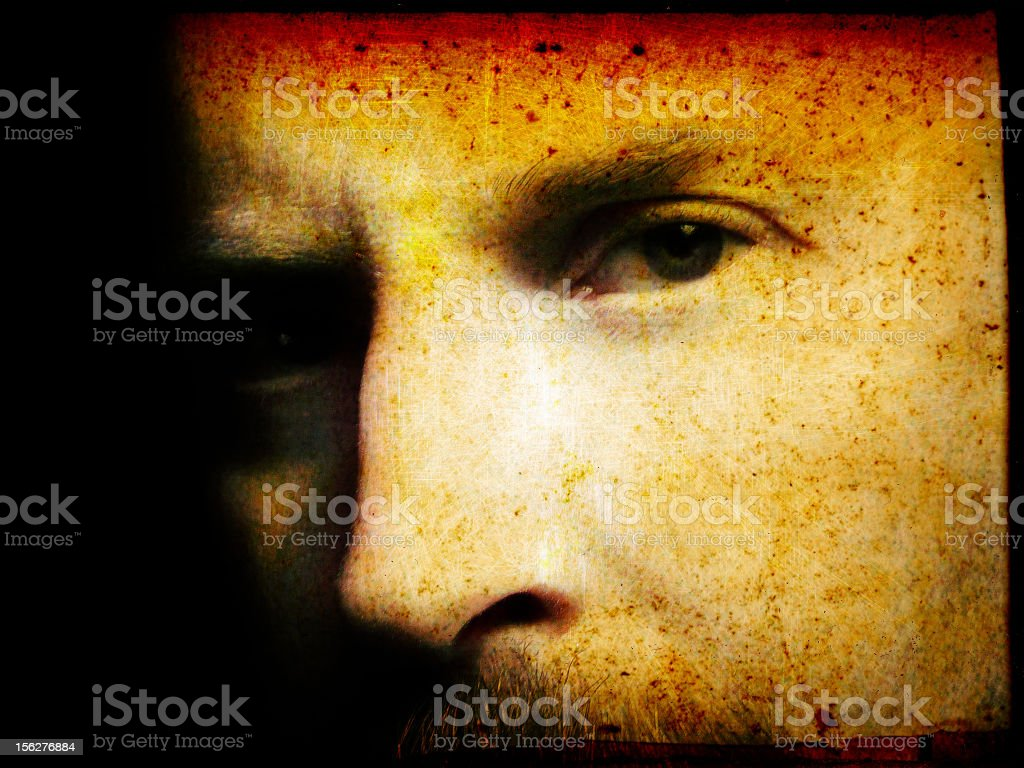 Portrait of Young Man, Red and Yellow Distressed royalty-free stock photo