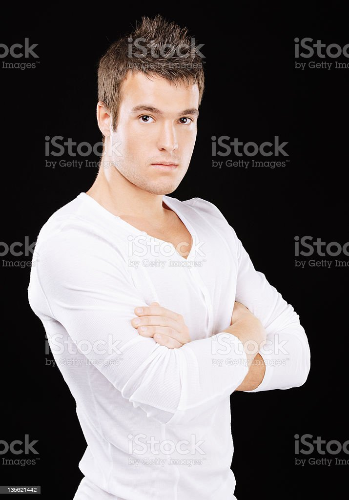 Portrait of young man wearing white clothes royalty-free stock photo