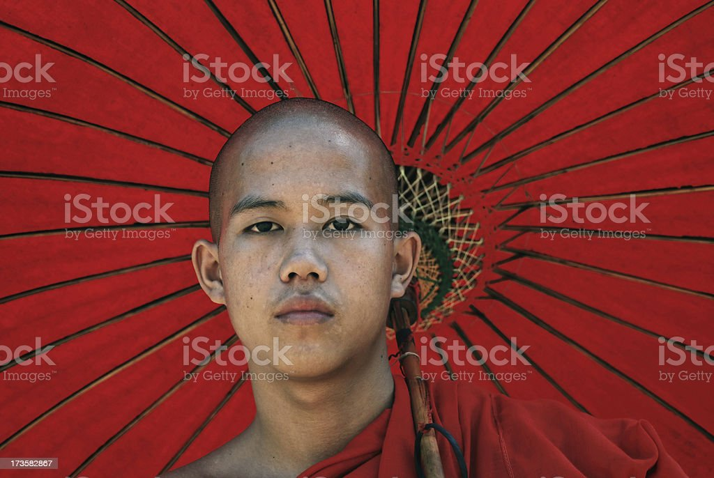 Portrait of young monk royalty-free stock photo