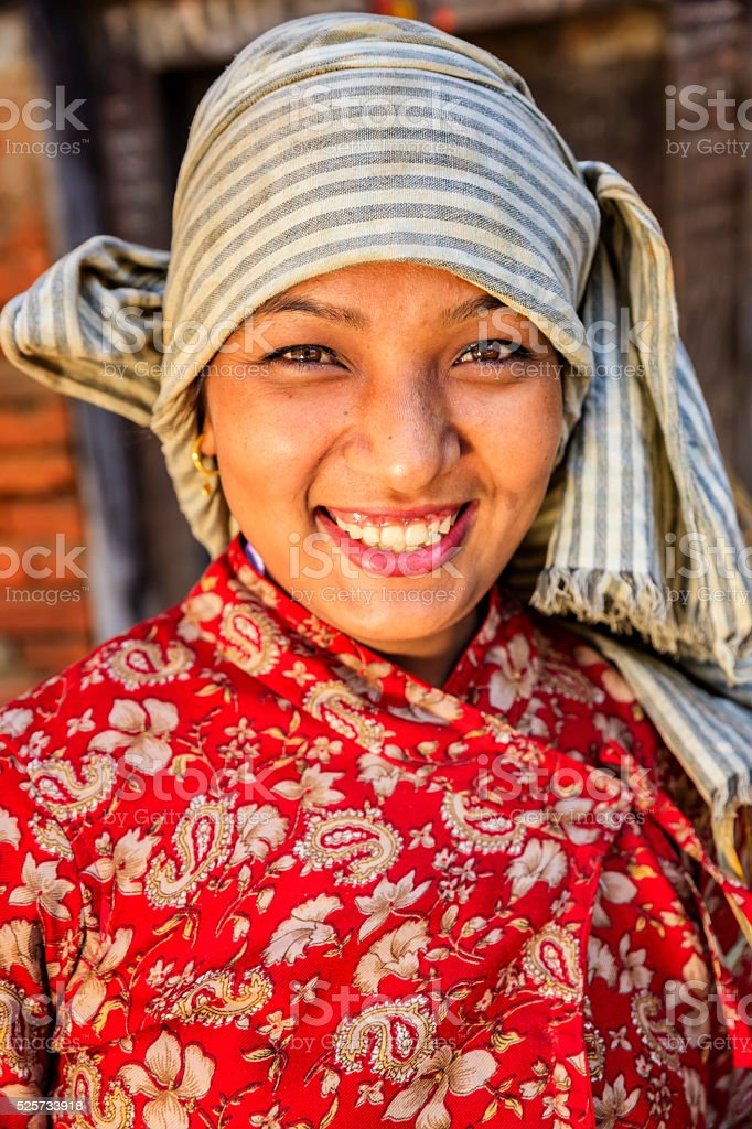 Portrait of young Nepali woman in Bhaktapur, Nepal stock photo