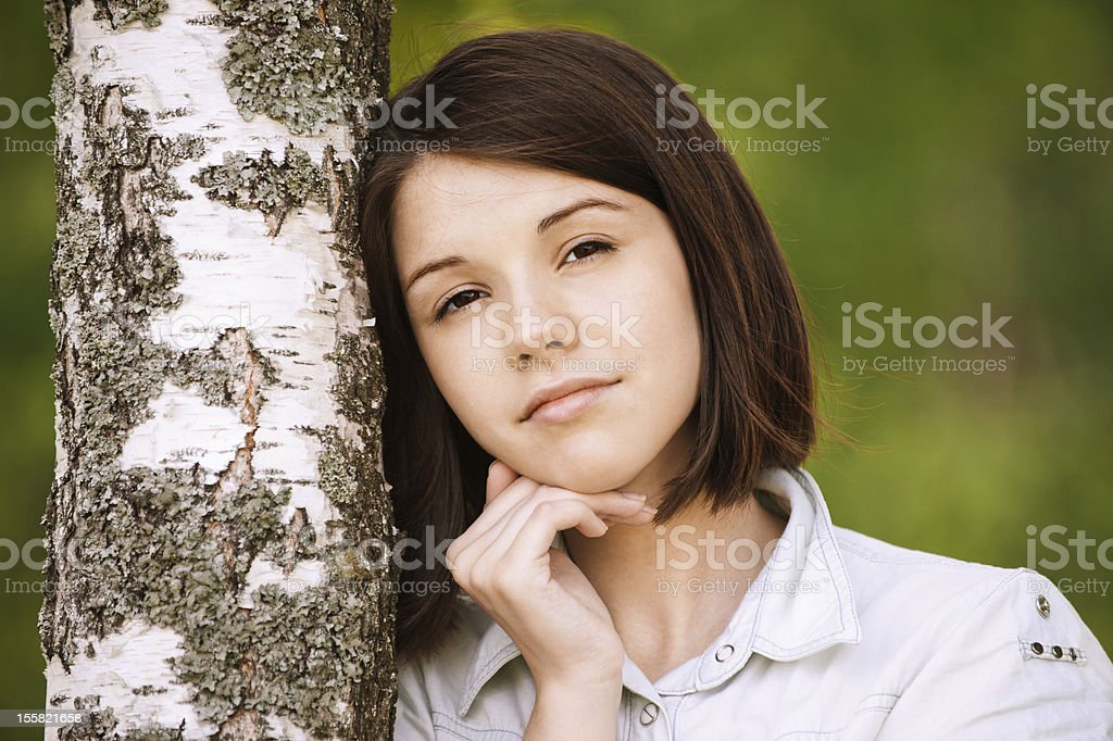 portrait of young pensive woman royalty-free stock photo