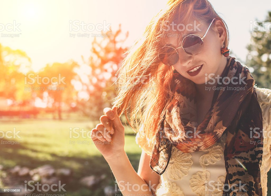 Portrait of young redhead modern woman stock photo
