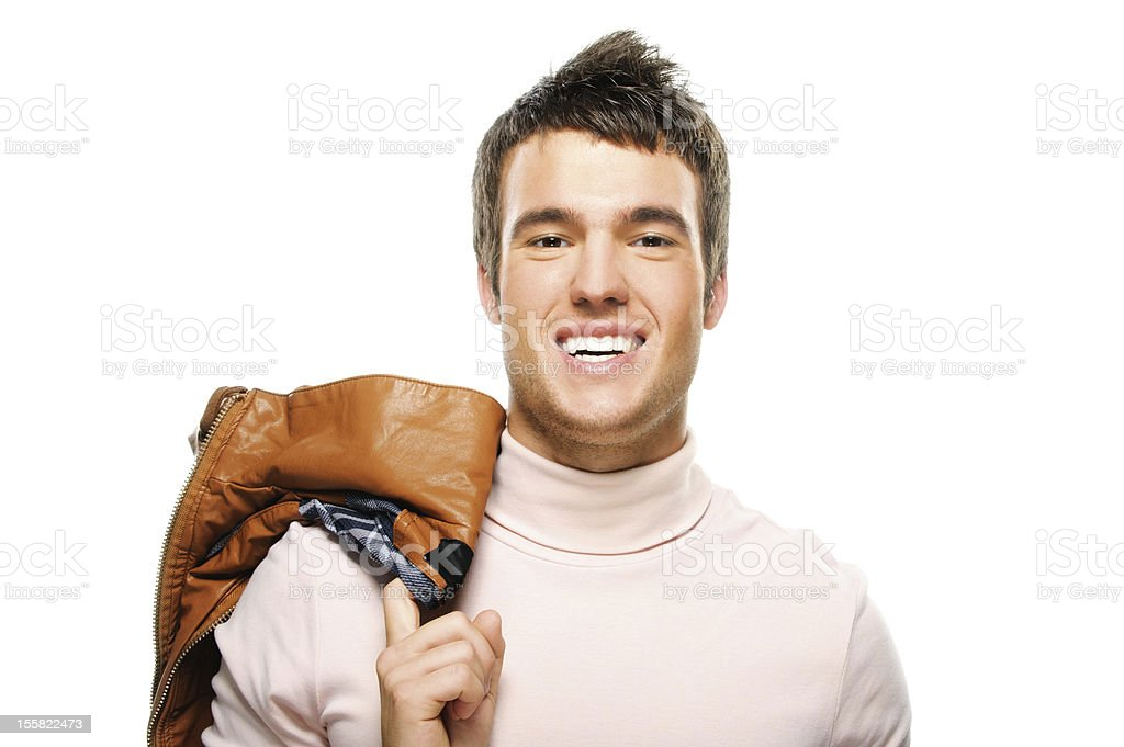 portrait of young smiling brunette man royalty-free stock photo