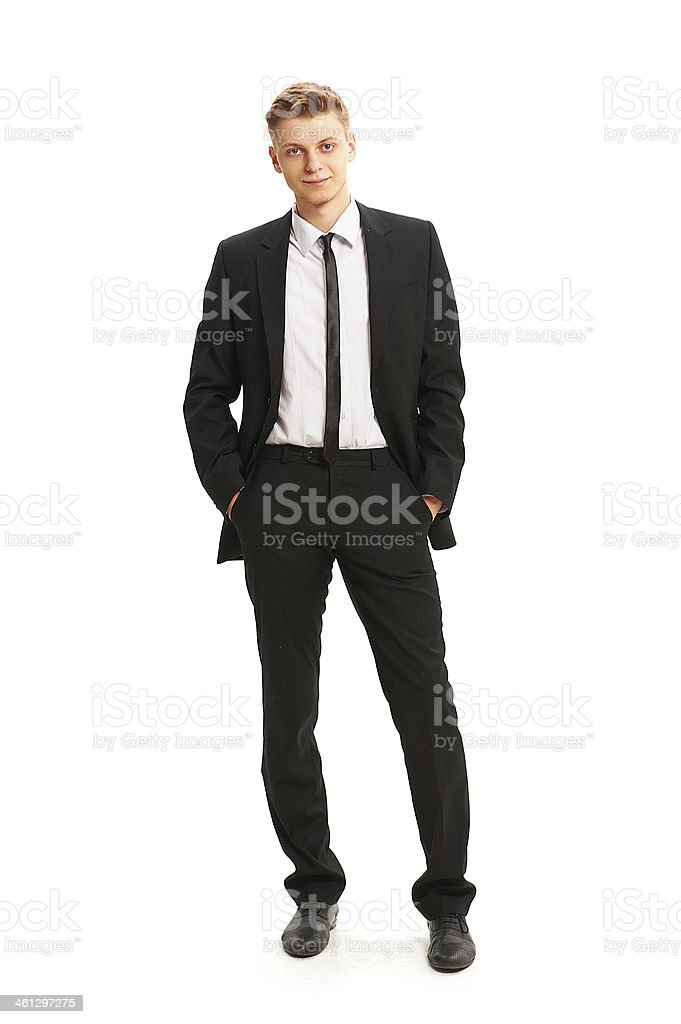 Portrait of young smiling man stock photo