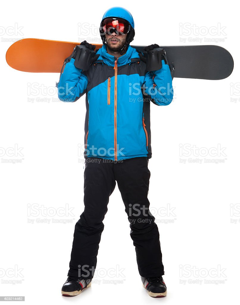 Portrait of young snowboarder stock photo
