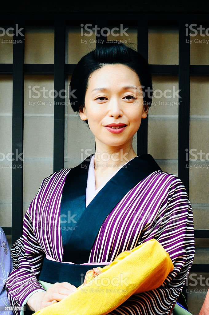 Portrait of  young traditional Japanese women stock photo
