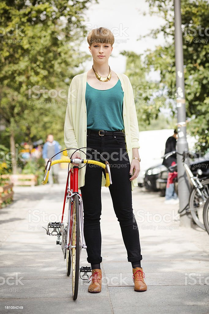 Portrait Of Young Urban Woman In Berlin, Germany stock photo