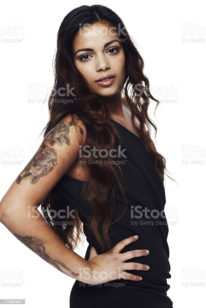 Portrait of young woman against white background royalty-free stock photo