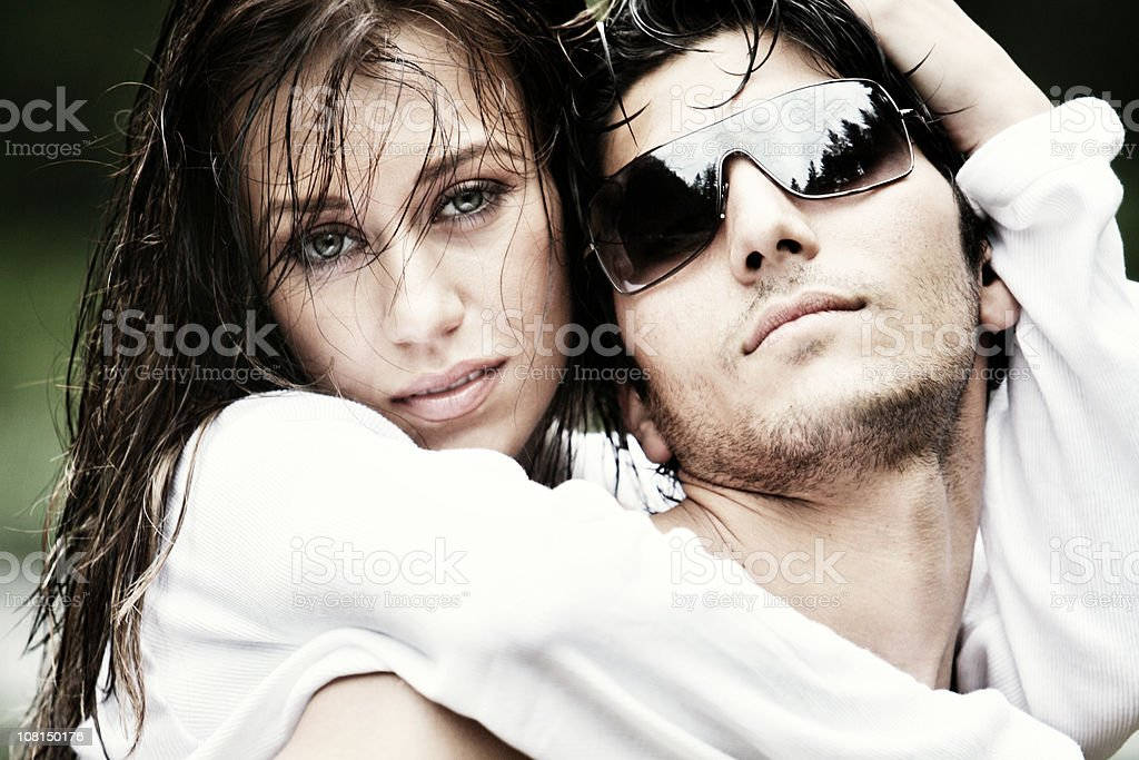 Portrait of Young Woman and Man Outside royalty-free stock photo
