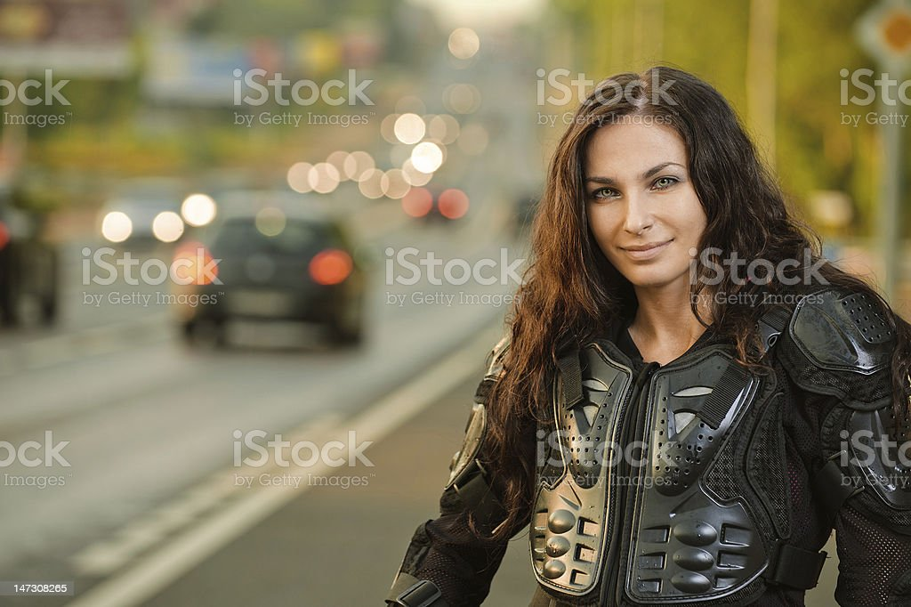 Portrait of young woman at road royalty-free stock photo
