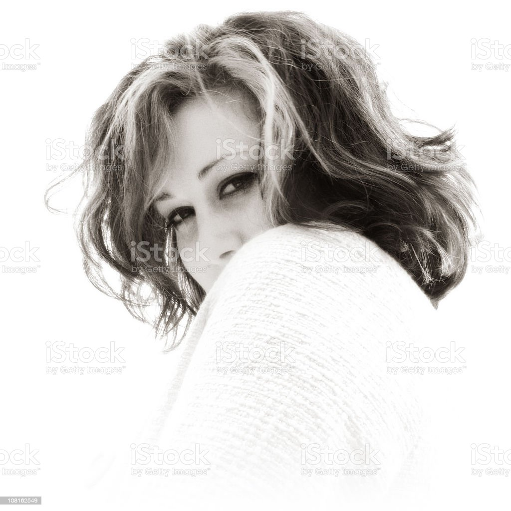 Portrait of Young Woman, Black and White royalty-free stock photo