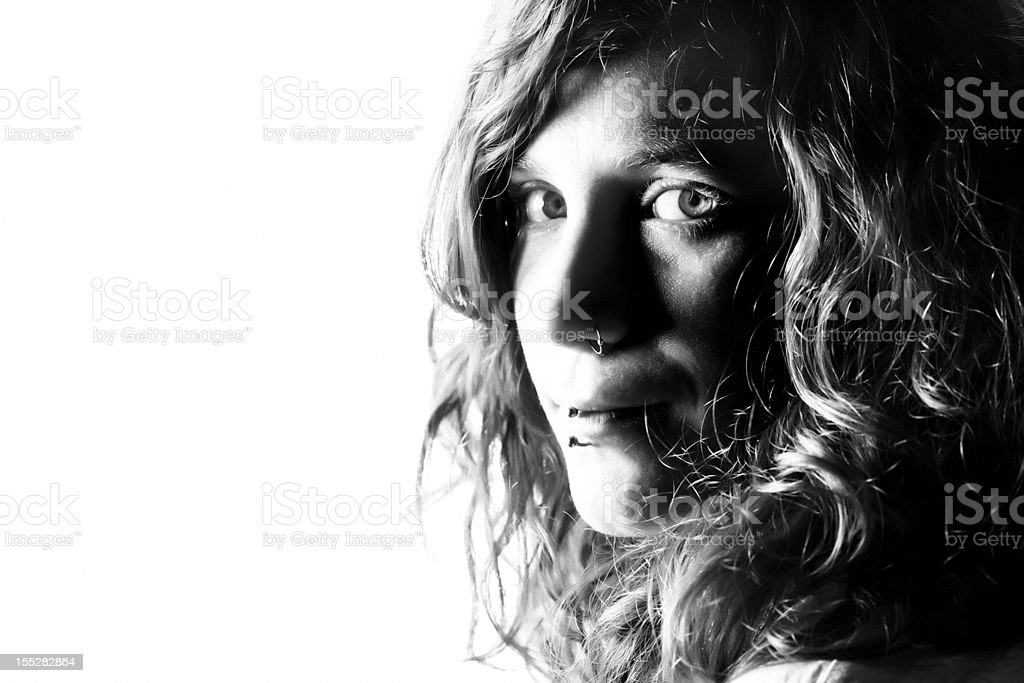Portrait of young woman, black and white stock photo