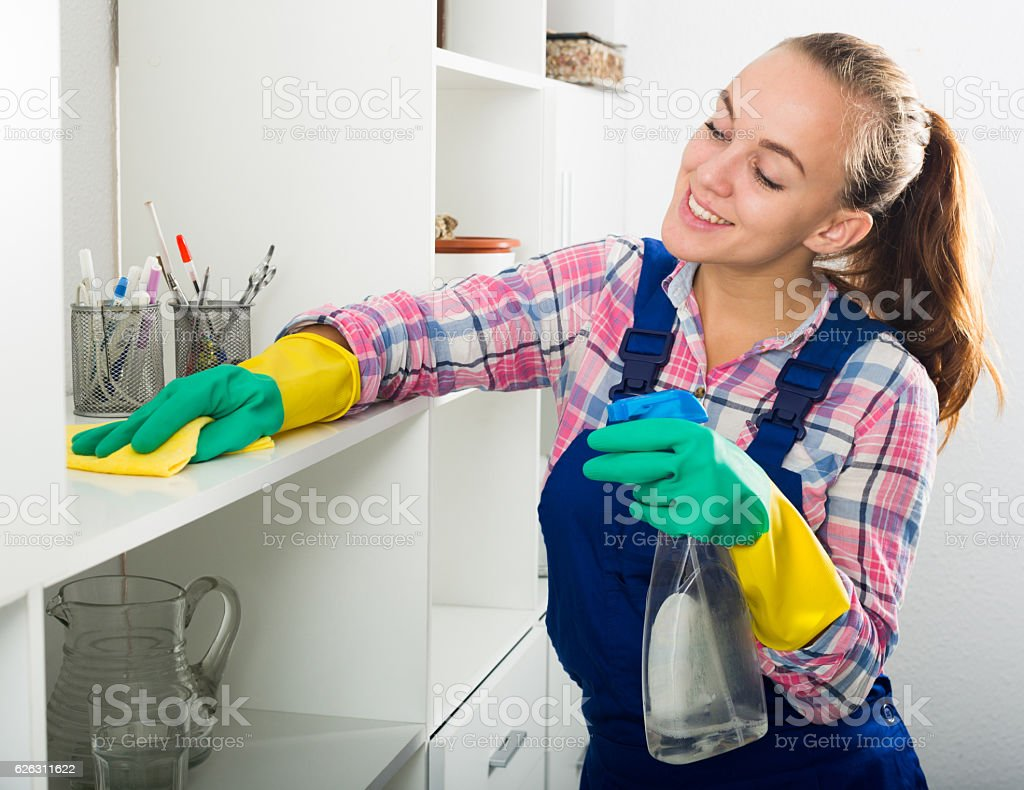portrait of young woman cleaning stock photo