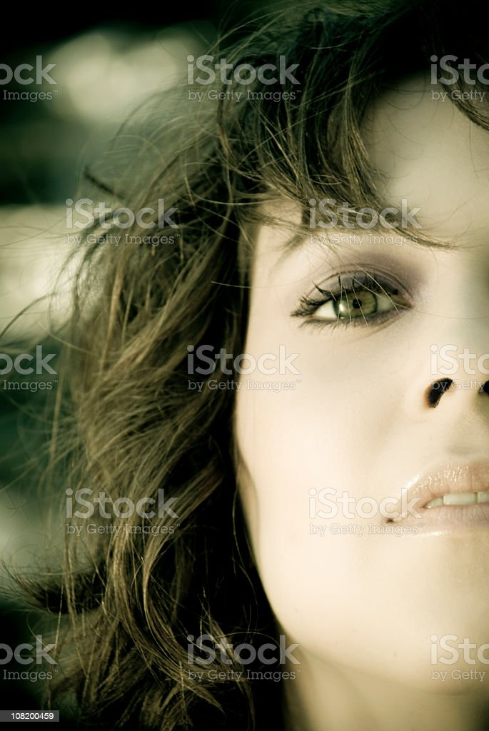 portrait of young woman, cross- processed royalty-free stock photo