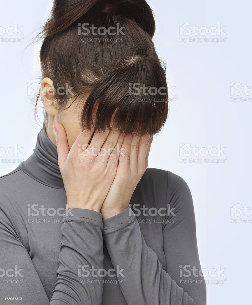 Portrait of young woman crying. royalty-free stock photo
