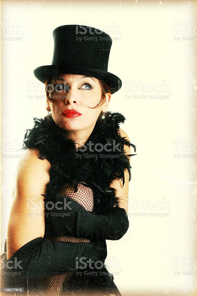Portrait of Young Woman Dressed in Feather Boa stock photo