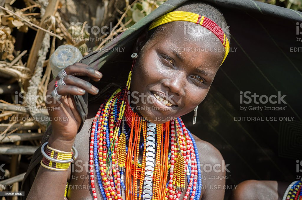 Portrait of young woman from Arbore tribe, Ethiopia stock photo