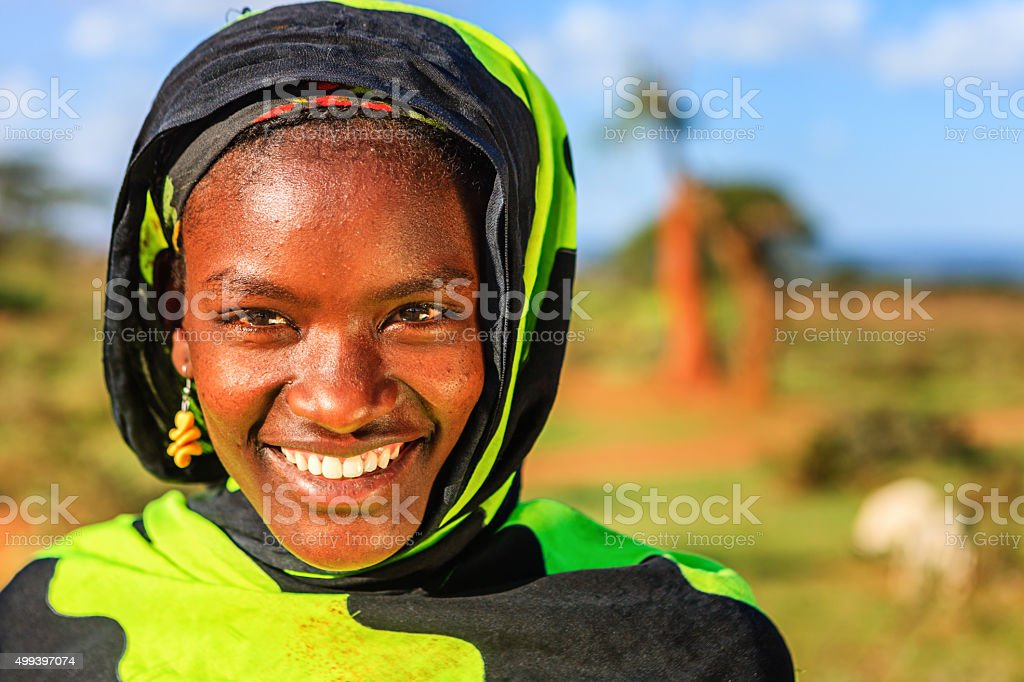 Portrait of young woman from Borana tribe, Ethiopia, Africa stock photo