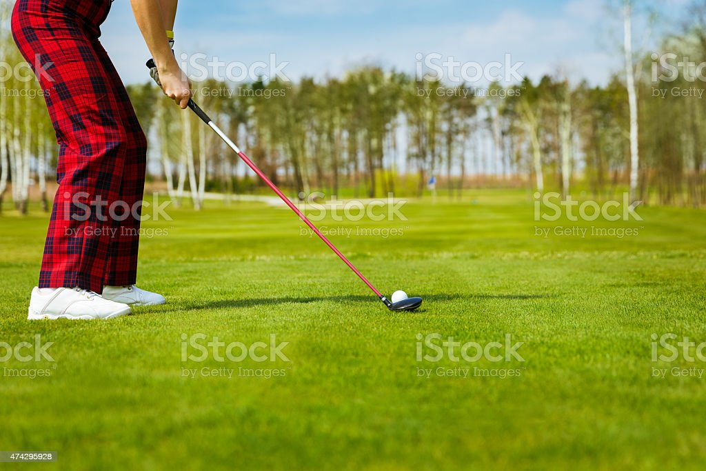 portrait of young woman golfer, back view stock photo