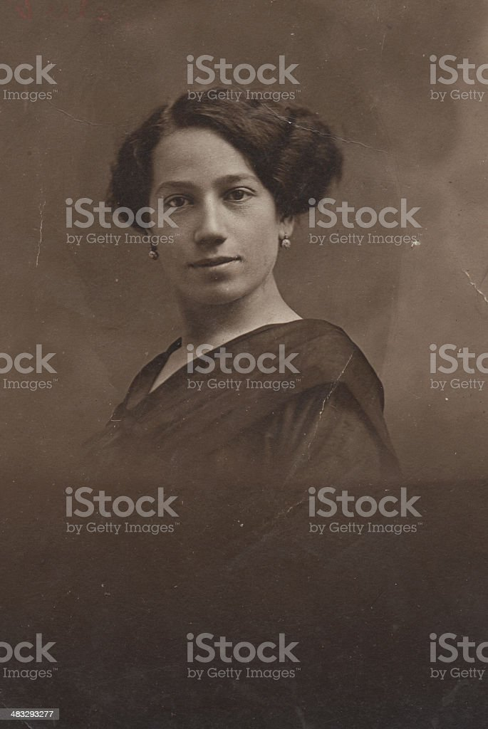 Portrait of young woman in 1915 royalty-free stock photo