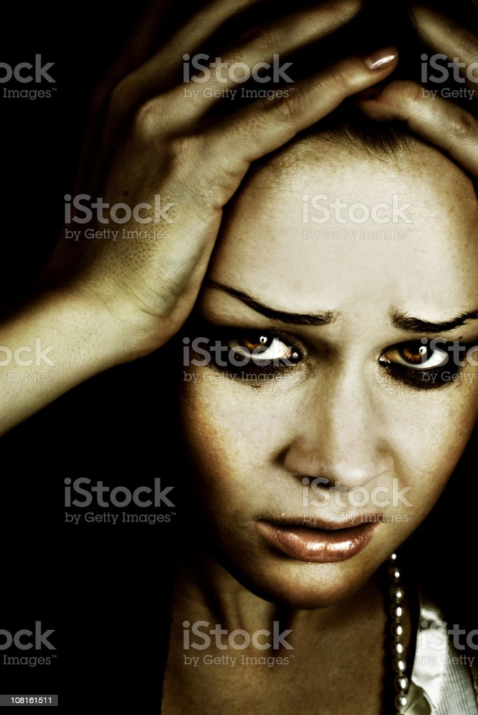 Portrait of Young Woman in Despair royalty-free stock photo
