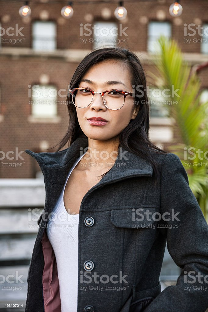 Portrait of young woman in New York stock photo