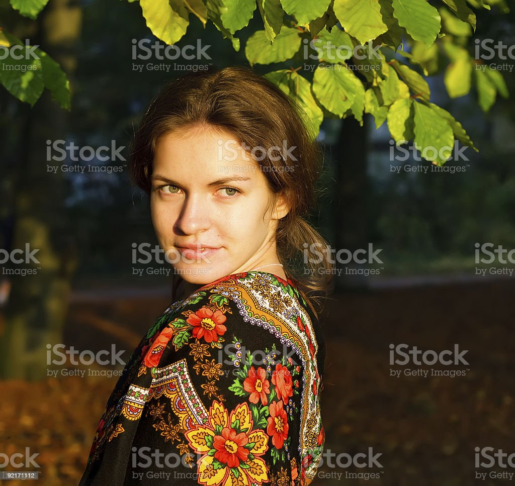 Portrait of young woman in russian shawl royalty-free stock photo