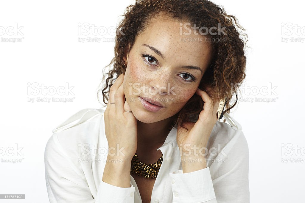Portrait of young woman in studio royalty-free stock photo