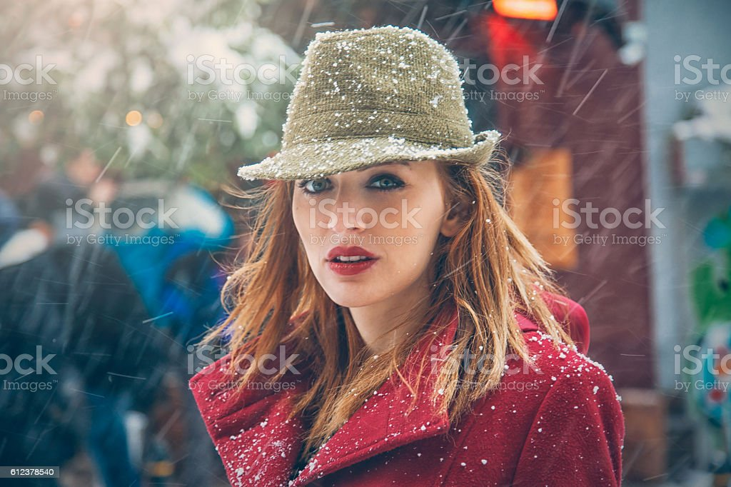 Portrait of young woman in winter stock photo