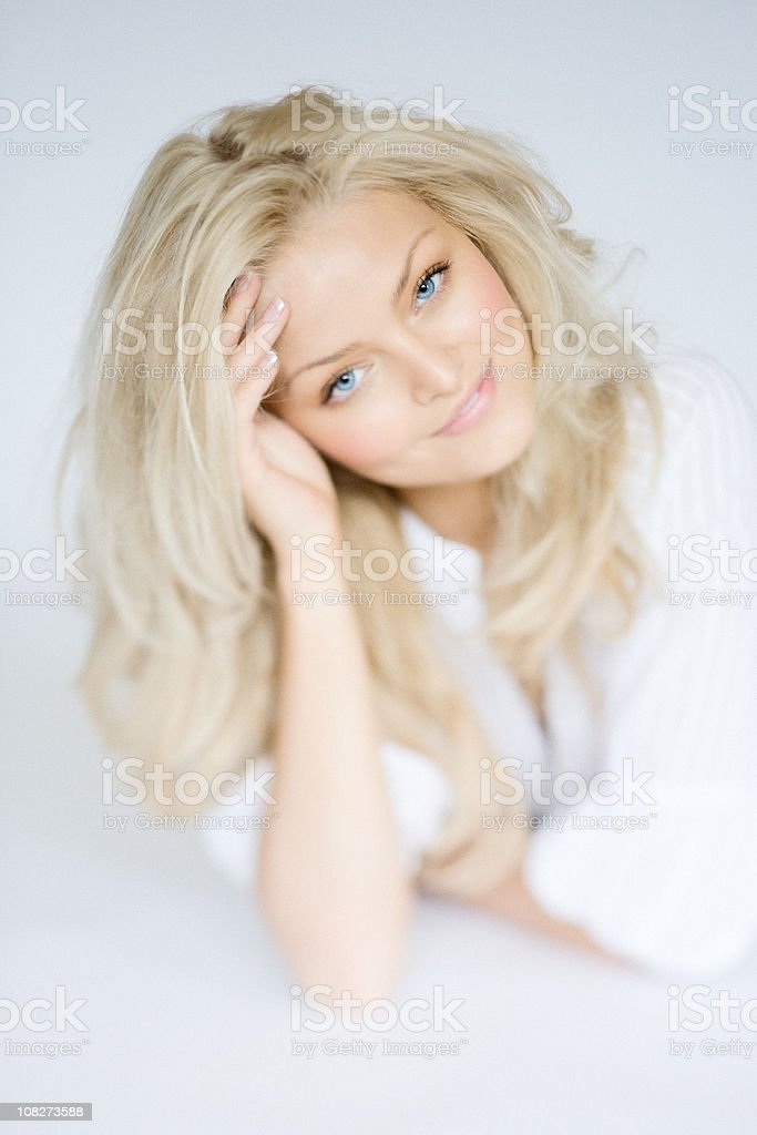 Portrait of Young Woman, Low Key, Grain royalty-free stock photo