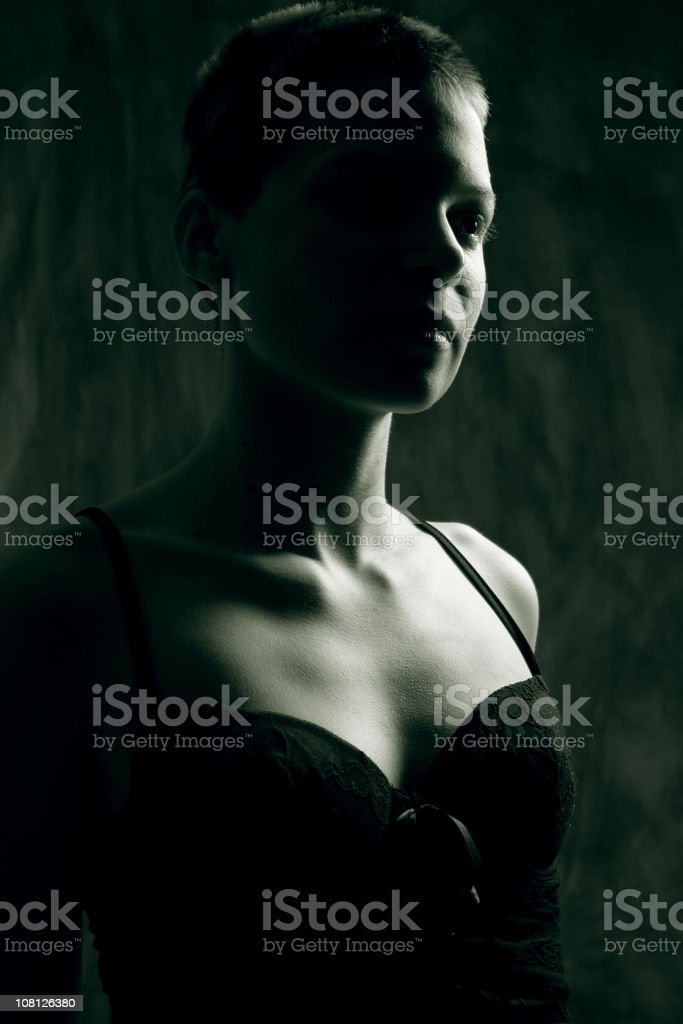 Portrait of Young Woman, Low Key Toned stock photo