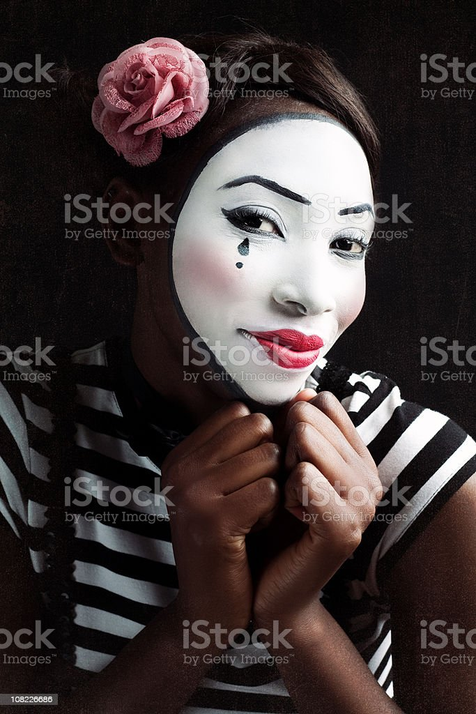 Portrait of Young Woman Mime royalty-free stock photo