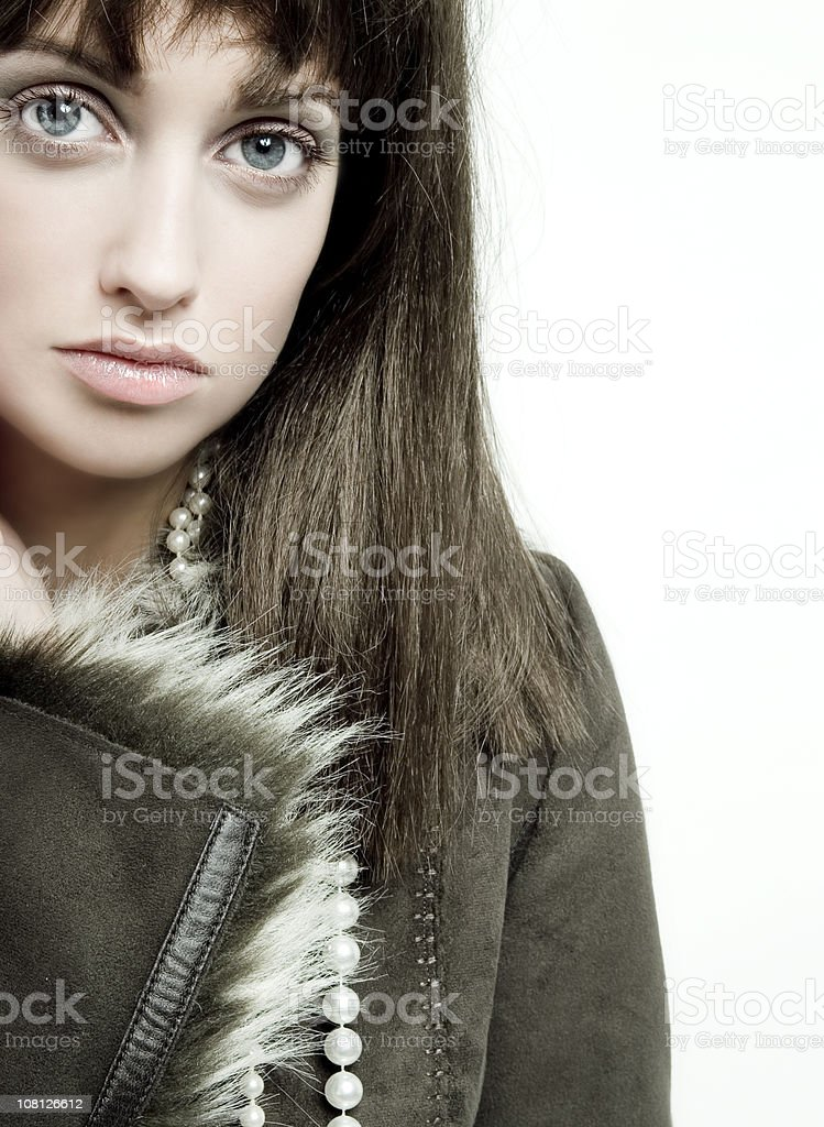 Portrait of Young Woman on White Background royalty-free stock photo