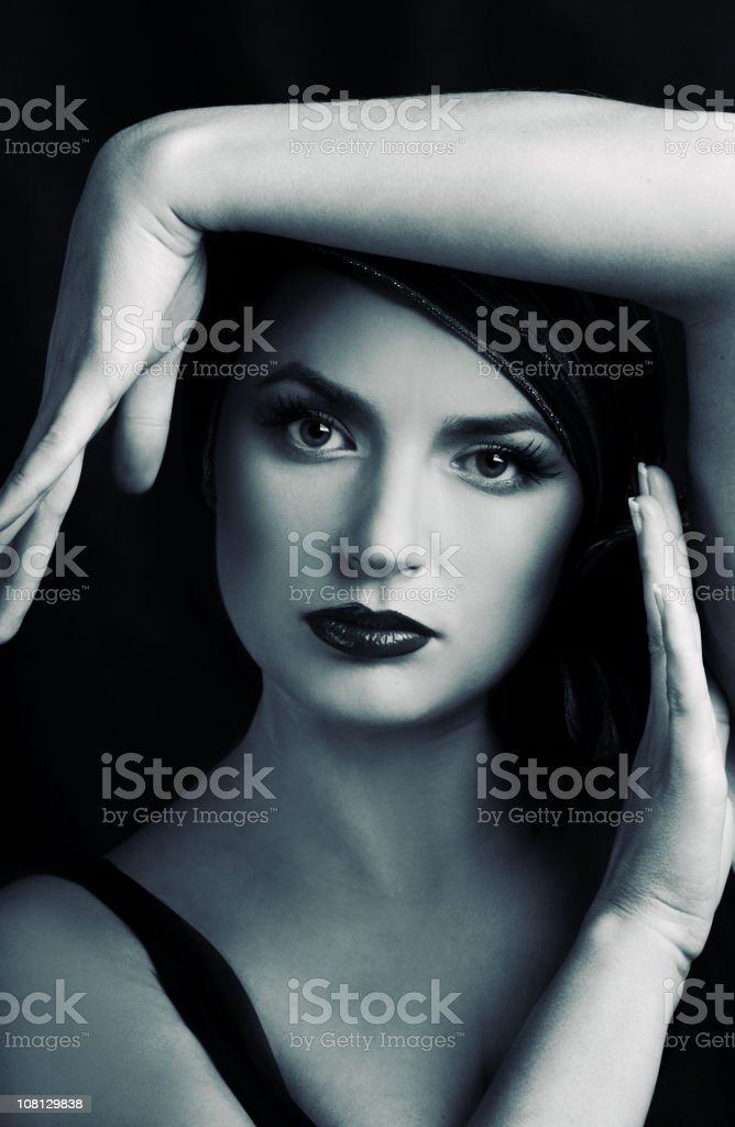 Portrait of Young Woman Posing, Black and White royalty-free stock photo