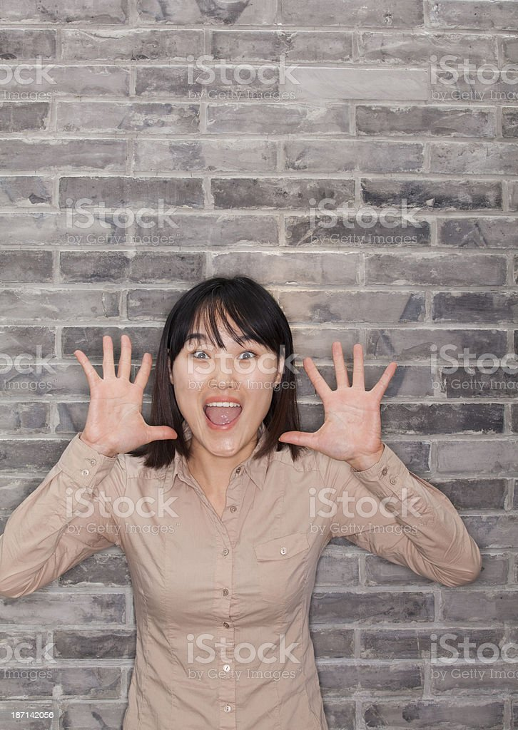 Portrait of Young Woman Shouting royalty-free stock photo