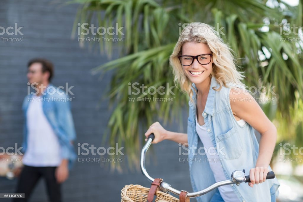 Portrait of young woman smiling stock photo