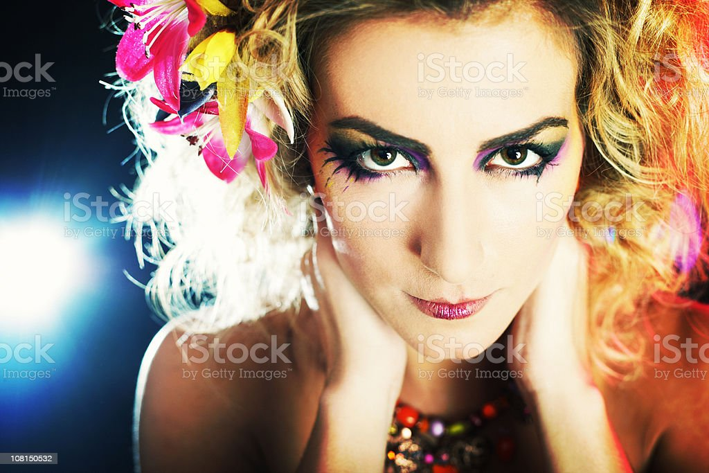 Portrait of Young Woman Wearing Flowers and Make-up royalty-free stock photo
