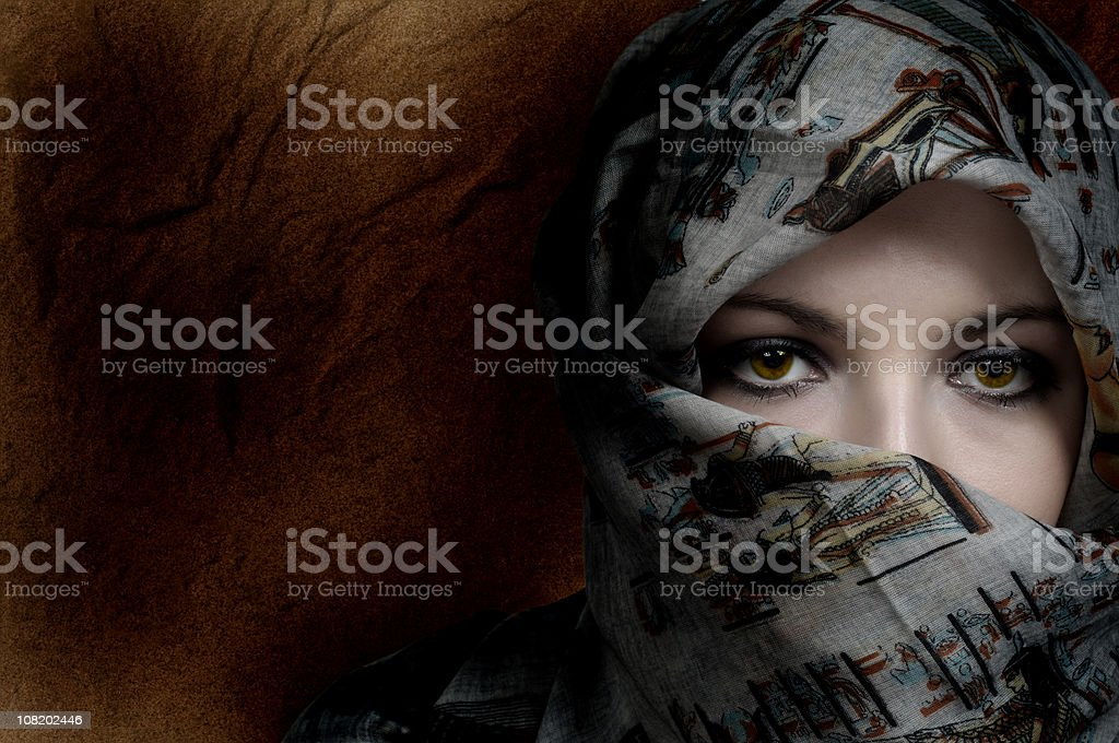 Portrait of Young Woman Wearing Head Scarf royalty-free stock photo