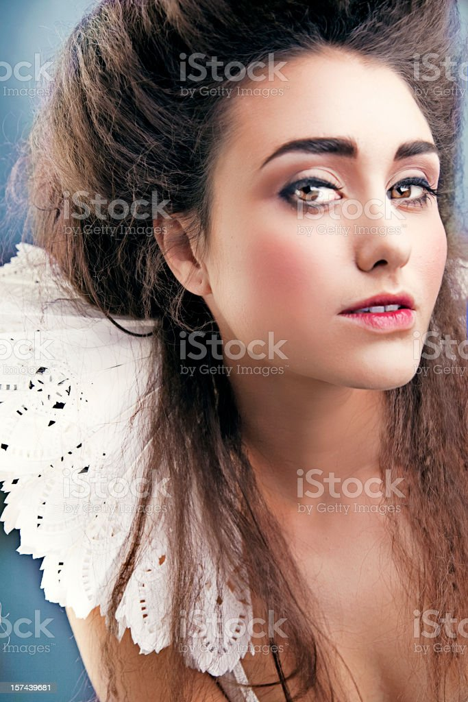 Portrait of Young Woman Wearing Large White Collar royalty-free stock photo