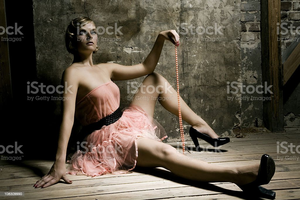 Portrait of Young Woman Wearing Pink Ballet Dress royalty-free stock photo