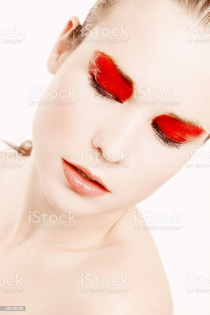 Portrait of Young Woman Wearing Red Make-up royalty-free stock photo