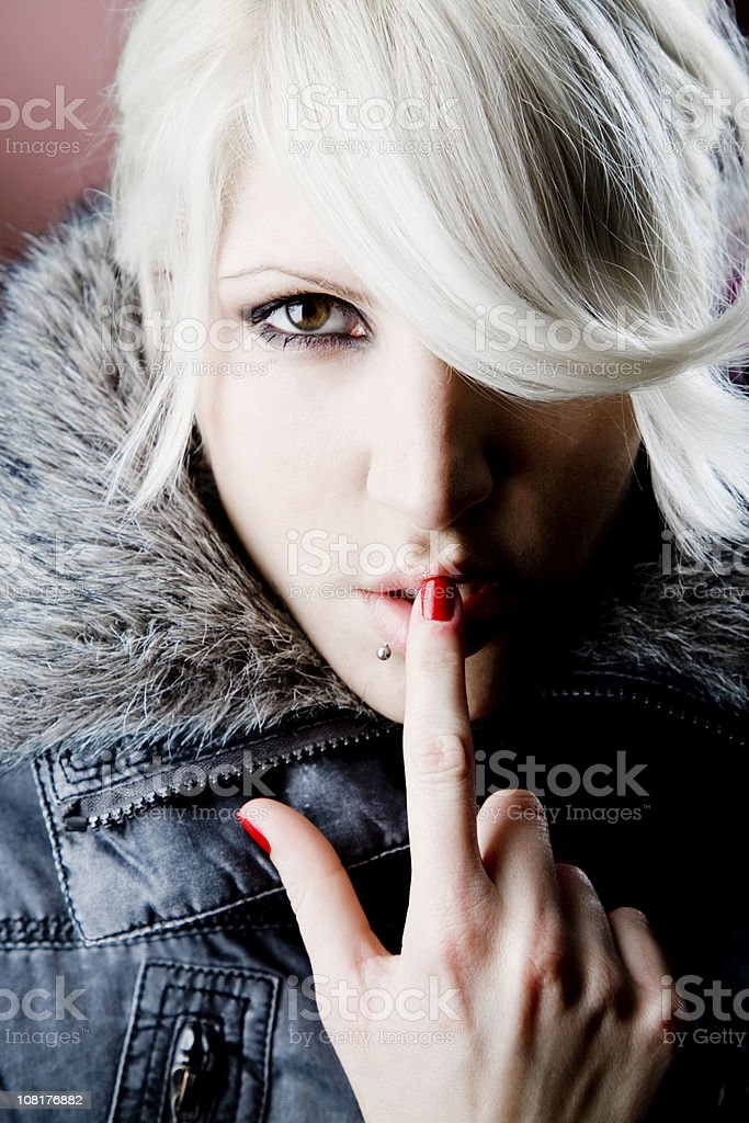 Portrait of Young Woman Wearing Winter Coat royalty-free stock photo